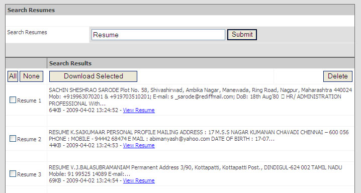 free resume search software